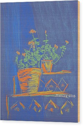Blue Geranium Wood Print by Marcia Meade