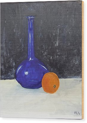 Blue Glass And Orange Wood Print by Peter Edward Green