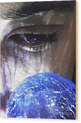 Blue Glass World Wood Print