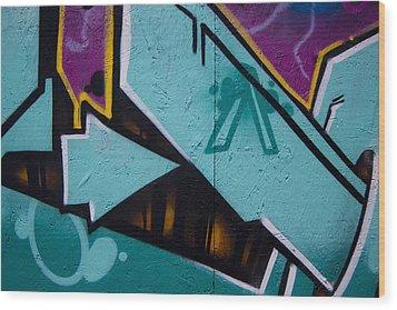 Blue Graffiti Arrow Wood Print by Carol Leigh