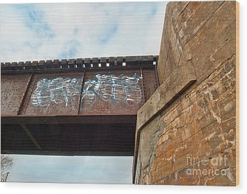 Wood Print featuring the photograph Blue Graffiti by Lena Wilhite