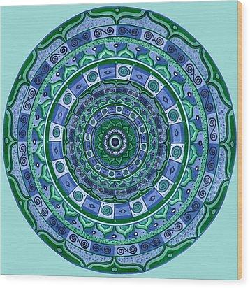 Blue Green Mandala Wood Print by Vlatka Kelc
