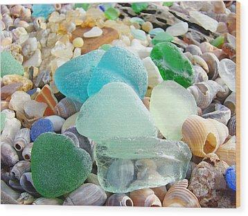 Blue Green Sea Glass Coastal Art Wood Print by Baslee Troutman