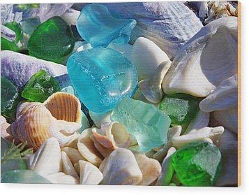 Blue Green Seaglass Shells Coastal Beach Wood Print by Baslee Troutman