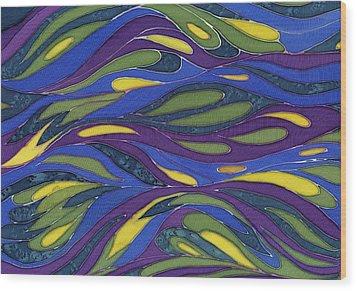 Blue Green Yellow  Abstract Silk Design Wood Print by Sharon Freeman