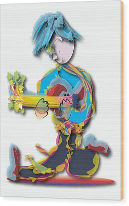 Blue Hair Guitar Player Wood Print by Marvin Blaine