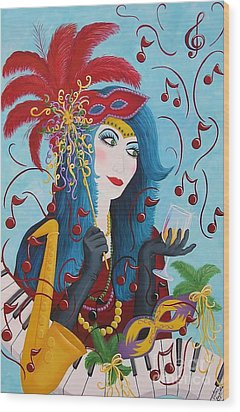 Blue Haired Lady Wood Print