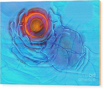 Wood Print featuring the digital art Blue Hand by Gabrielle Schertz