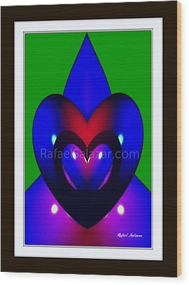 Wood Print featuring the painting Blue Hearts by Rafael Salazar