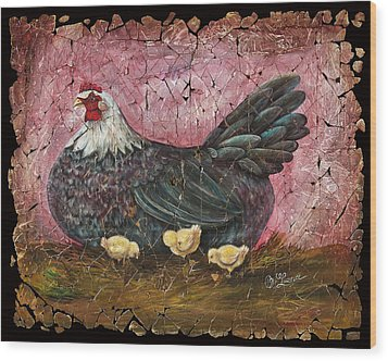 Blue Hen With Chicks Fresco Wood Print