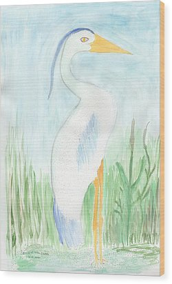 Blue Heron In The Tules Wood Print