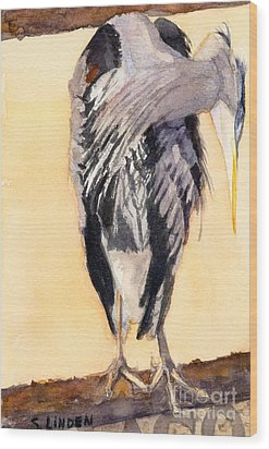Blue Heron - Left Wood Print by Sandy Linden