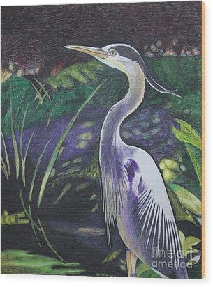 Blue Heron Wood Print by Terri Thompson