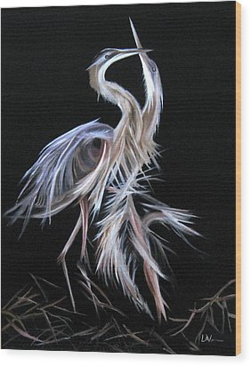 Wood Print featuring the painting Blue Herons Mating Dance by LaVonne Hand