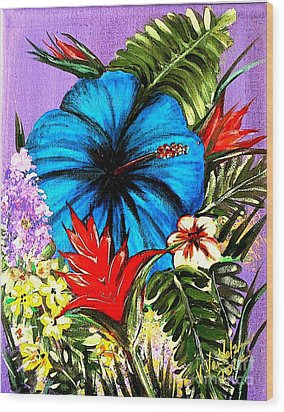 Blue Hibiscus Wood Print by Valarie Pacheco