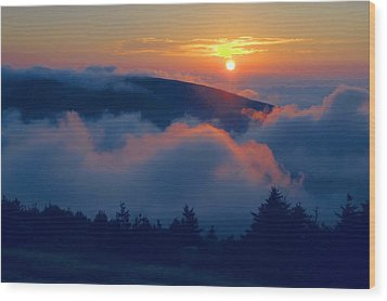 Blue Hill Sunset - Acadia Wood Print by Stephen  Vecchiotti