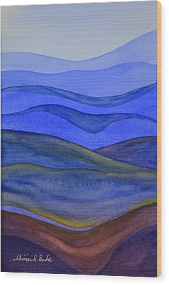 Blue Hills Wood Print by Shirin Shahram Badie
