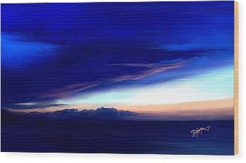 Wood Print featuring the digital art Blue Horizon Dawn Over Sea by Anthony Fishburne