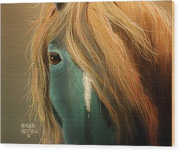 Blue Horse Wood Print by Heather Gessell