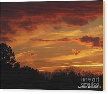 Blue Horse Sunset Wood Print by Rabiah Seminole
