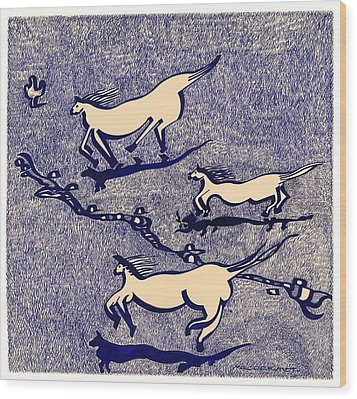 Blue Horses Wood Print by Vince MacDermot