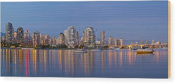 Wood Print featuring the photograph Blue Hour At False Creek Vancouver Bc Canada by JPLDesigns