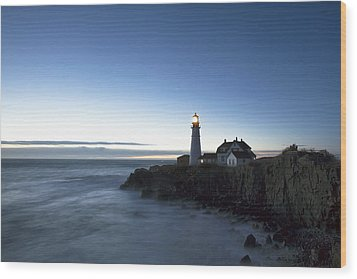 Blue Hour At Portland Head Wood Print by Eric Gendron