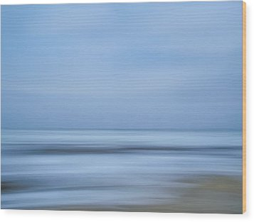 Blue Hour Beach Abstract Wood Print