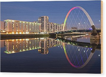Blue Hour In Glasgow Wood Print by Stephen Taylor