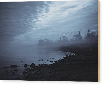 Blue Hour Mist Wood Print by Mary Amerman