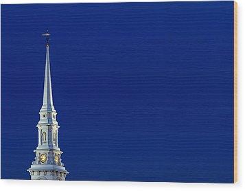 Blue Hour Steeple Wood Print by Jeff Sinon