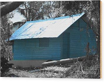Blue House  Wood Print by Bobby Mandal