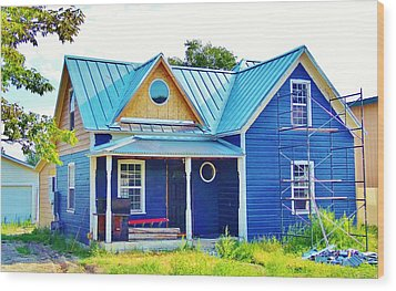 Blue House Wood Print