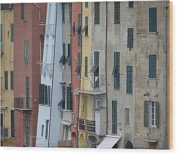 Wood Print featuring the photograph Blue House Portovenere Italy by Sally Ross