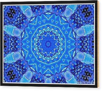 Wood Print featuring the photograph Blue Hydrangeas Flower Kaleidoscope by Rose Santuci-Sofranko
