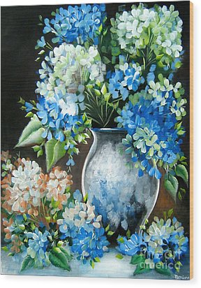 Wood Print featuring the painting Blue Hydrangeas by Patrice Torrillo