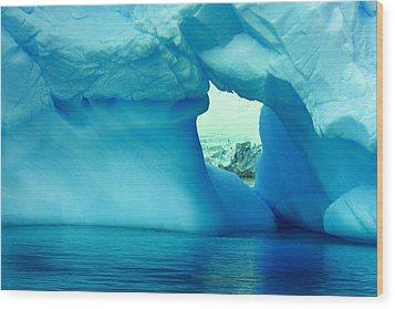 Blue Iceberg Antarctica Wood Print