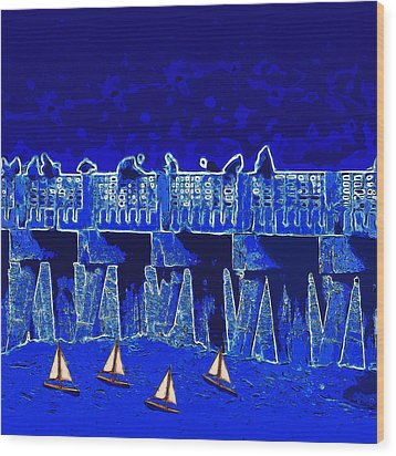 Wood Print featuring the painting Blue II Toy Sailboats In Lake Worth by David Mckinney
