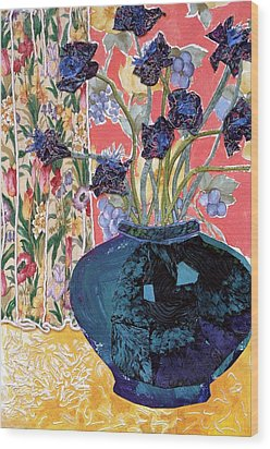 Blue In Blue Wood Print by Diane Fine