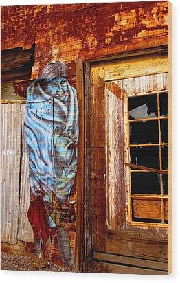 Blue Indian Wood Print by Marilyn Diaz