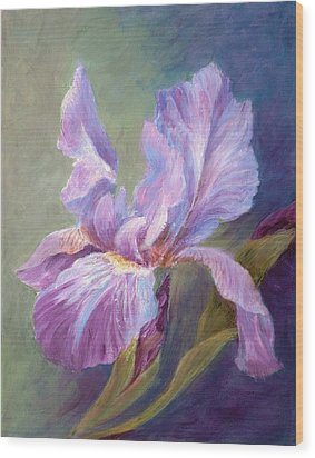 Blue Indigo Iris Wood Print