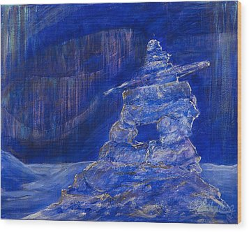Wood Print featuring the painting Blue Inukshuk by Cathy Long