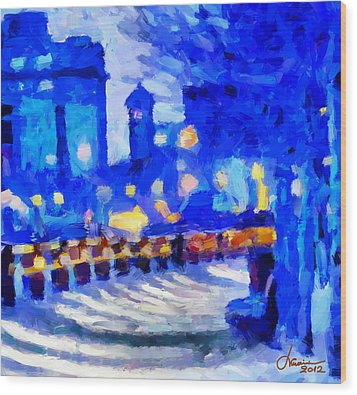 Blue January Night In The City Tnm Wood Print by Vincent DiNovici