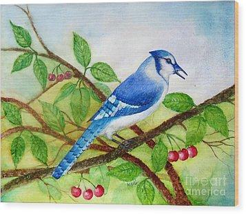 Blue Jay Wood Print by Anjali Vaidya