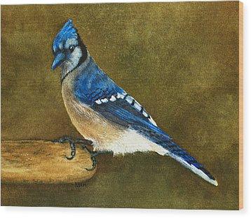 Blue Jay Wood Print by Nan Wright