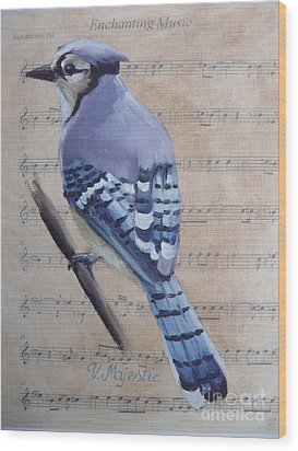Blue Jay On Vintage Sheet Music Wood Print