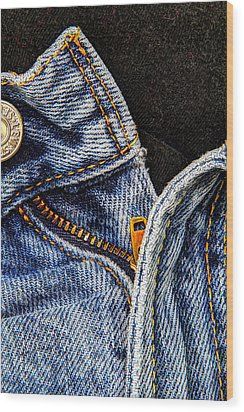 Blue Jeans Wood Print by Wade Brooks