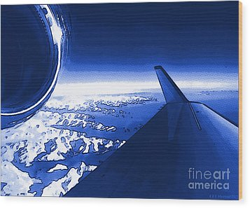 Blue Jet Pop Art Plane Wood Print