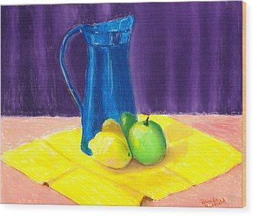 Blue Jug Wood Print by Brenda Bonfield