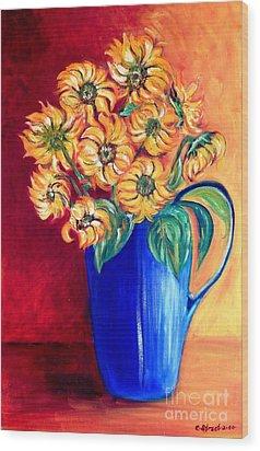 Blue Jug Yellow Flowers Wood Print by Caroline Street